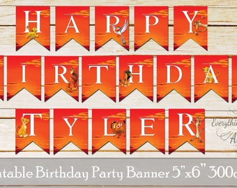 Lion King birthday flags, Lion King party banners, Lion King birthday party, Lion King banners, Simba flags, Printable party flags