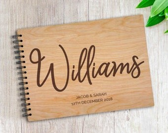 Personalised Last Name A4 Wooden / Timber Wedding / Engagement / Guestbook / Photo book
