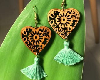 Green wooden tassle earrings  boho