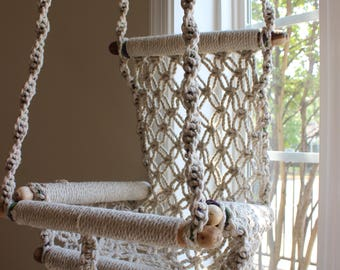 Macrame swing etsy for Diy macrame baby swing