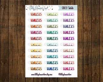 Clean Toilets Multi-Color Word Planner Stickers for all Planners