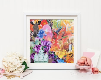 Butterfly Over Love 10x10 Art Print Whimsical Floral Collage Zebra Butterfly Enchanted