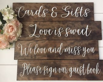 Wedding Sign Set of 4 Signs Custom Signs, Rustic Wedding Signs Country Wedding Photo Props, Cards and Gifts Sign, Thank You Sign, Favors Sig