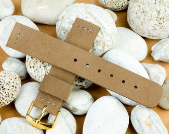 Watch band 20 mm width, 125 / 75mm, Brown (Olive) color leather, handmade, with buckle in gold color