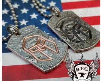 Spartan Helmet Engraved Mini Dog Tag made from a Kennedy Half Dollar W/ 30 inch Stainless steel Ball Chain