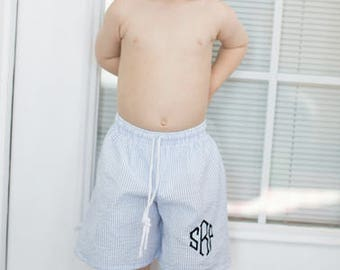 Boys seersucker monogrammed swim trunkes ~ custom boys swim trunk ~ seersucker swim trunks