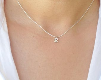 Sterling Silver Initial Necklace, Silver Charm Initial Necklace, Personalized Gift Minimalist Jewelry, Bridesmaid Gift, Christmas gift