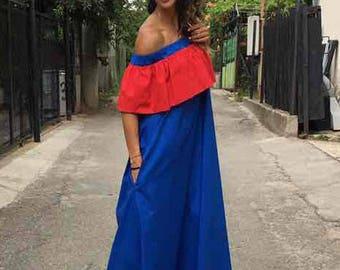 Oversize Extravagant Ruffle Dress, Casual Summer Cotton Dress, Off-shoulder Boho Dress, Maxi Dress by SSDfashion
