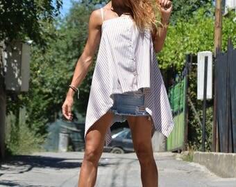 Extravagant Women's Striped Shirt, Asymmetric Loose Sleeveless Shirt, Plus Size Shirt, Cotton Party Shirt By SSDfashion