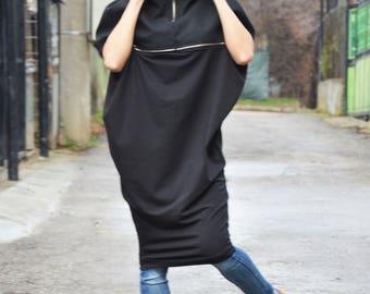 Black Extravagant Wool Cotton Dress, Maxi Black Zipper Tunic, Casual Loose Top, Plus Size Dress by SSDfashion