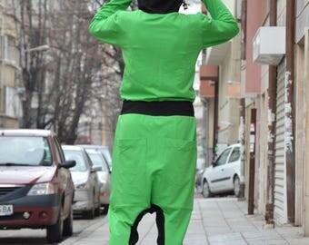 Extravagant Hooded Drop Crotch Jumpsuit, Loose Jumpsuit for Women, Plus Size Jumpsuit, Low Bottom Jumpsuit by SSDfashion