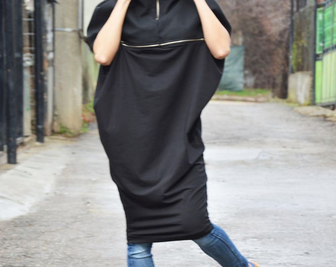 Black Extravagant Wool Cotton Dress, Maxi Black Zipper Tunic, Casual Loose Top, Plus Size Dress by SSDfashion