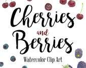 Cherries and Berries Clip Art, Cherries Clip Art, Blueberries Clip Art, Blackberries Clip Art, INSTANT DOWNLOAD, Watercolor Clip Art