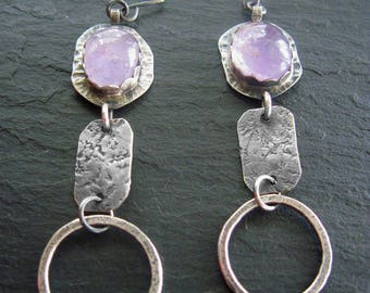 Amethyst Earrings, Amethyst and Silver , Hand Forged Jewerly, February Birthstone, Raw Silver Earrings, 925 Silver
