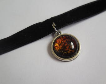 Black velvet red black pendant choker handmade