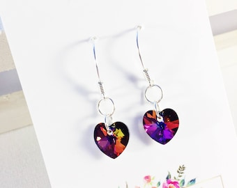 Crystal Volcano Crystal Heart Earrings With Swarovski Elements. Sterling Silver
