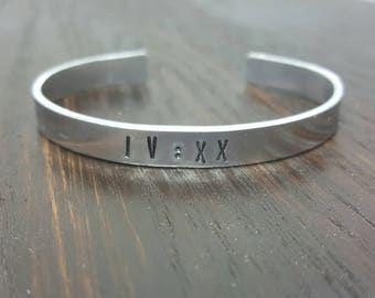 IV XX minimalist 420 Roman numeral stamped cuff bracelet, handmade by the toke shop