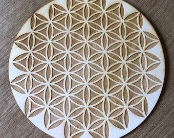Flower of Life Crystal Grid - Inverted Flower of Life - 3, 6, 9, or 12 Inches - Wooden Crystal Grid - Sacred Geometry - Wood Crystal Grid