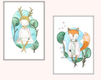 Art Print set of two- Girls bedroom art- fox girl- deer girl- Children's room decor- whimsical prints- woodland nursery decor- pink- teal