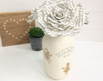 Alice inspired gift, book page roses, Alice inspired Kilner jar, paper flowers,