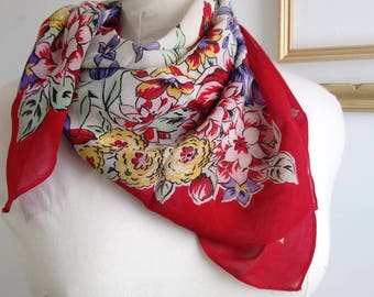 70s floral scarf, retro scarf, vintage scarf, vintage flower scarf, red scarf with flowers