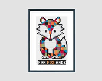 Cross stitch pattern, for fox sake, instant download