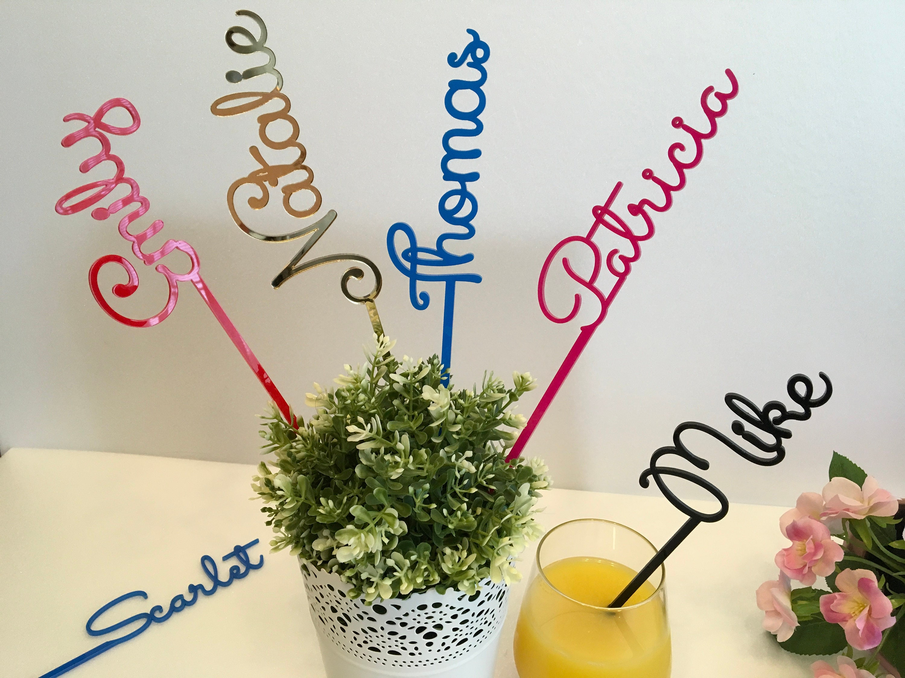Personalised Wedding Acrylic Drink Stirrers Custom Stir Stick