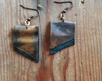 Rustic Teal Leather Copper Earrings