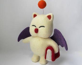 Final Fantasy XV Moogle Kingdom Hearts Needle felted Fairy Tail Cute Kawaii Plush Toy Fantasy Creature plushie Wizard Geeky Gift ff7 XIV VII