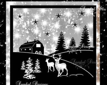ON SALE Christmas Barn Scape SVG Christmas Cut File Christmas Svg File, Svg Cutting File, Country Barn Deer Glass Block Cutting File,  EasyW