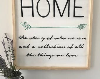 Handmade Sign- 'Home. The story of who we are and a collection of all the things we love'