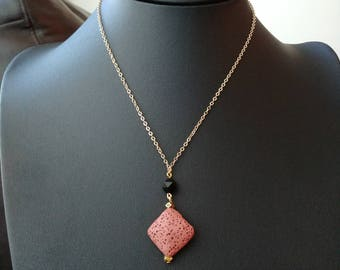Geometric Onyx diffuser necklace with pink lava stone and gold brass chain, 16 inch