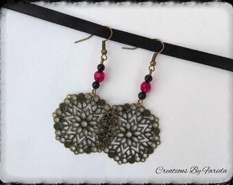 Dangle bronze earrings with Fuchsia beads