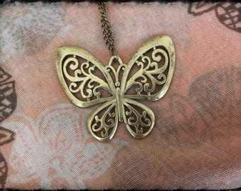 Bronze long necklace with a beautiful Butterfly filigree