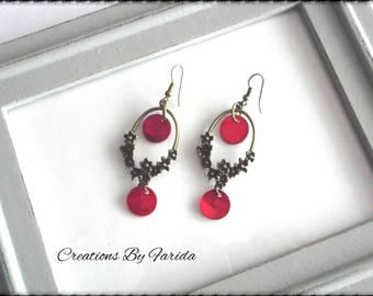 Earrings with bronze floral connector and Red sequins