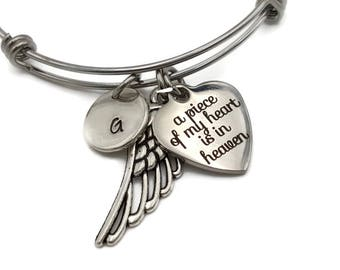 Memorial Jewelry, Memorial Bracelet, Sympathy Gift, A Piece of My Heart is in Heaven, Personalized Remembrance Jewelry with Angel Wing,