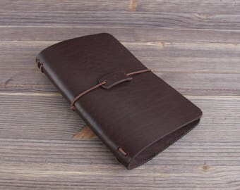 Large size. Genuine Leather Cover for Moleskine Journal . Notepad Cover.  Midori style traveler's notebook. Dark Brown.
