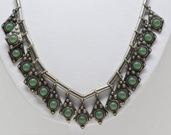 Beautiful silver tone beaded necklace