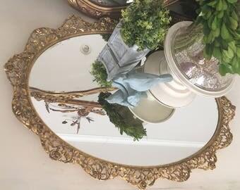 vintage tray vanity tray oval vanity tray bathroom decor bathroom accessories