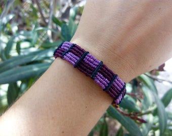 Macrame bracelet garnet & violet - Adjustable
