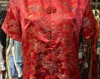 1970' chinese short sleeves blouse. Size S.