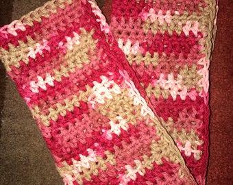 Crochet Dishcloths & Washcloths-Burgundy Pink Mauve Khaki Tan Wash Dish Cloths-Eco friendly Reusable Cotton Cloths - Sold as a Set of Two
