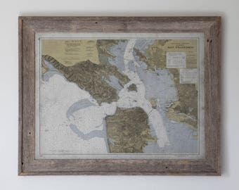 San Francisco Bay Area Map: RECLAIMED BARNWOOD FRAME - Vintage Nautical Map of the Bay Area - 20th C.