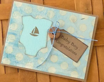 New Baby Card, Baby Shower Card, Congratulations Card, Rustic Baby Card, Homemade Baby Boy Card, Baby Congratulations, New Arrival Baby Card