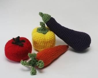 Knit / Crochet Stuffed Vegetables - Carrot, Eggplant, Tomato, Bell Pepper - Decor or Children's Toys