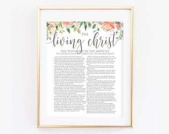 Floral Living Christ, LDS Living Christ, The Living Christ, Floral, Coral, Modern LDS Print, LDS Printable