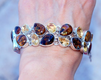 Genuine Russian Pietersite with Citrine  set in Solid 925 Sterling Silver Bracelet by Silver Trend