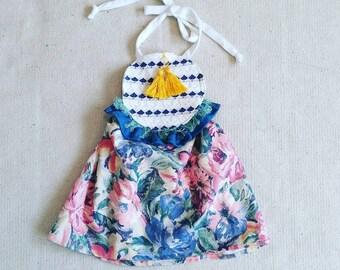 Vintage Boho Floral Circle Bib Halter Dress Baby/Toddler