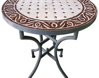 """24"""" Brown / White Moroccan Mosaic Table - CR4"""