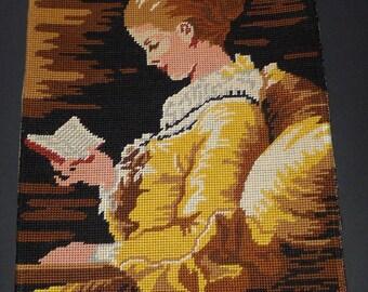 "Lovely vintage completed needlepoint LA LISEUSE  after Fragonard's painting  15"" x  12"""